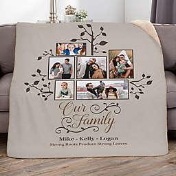 Photo Family Tree Fleece Throw Blanket