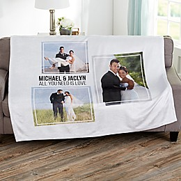 Wedding 3 Photo Collage Personalized Blanket