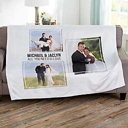 Wedding 3 Photo Collage Personalized Blanket