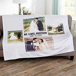 Wedding 4 Photo Collage Personalized 50x60 Fleece Blanket