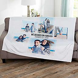 Wedding 5 Photo Collage Personalized Blanket