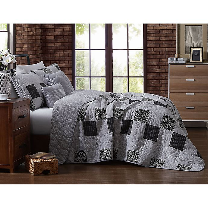 Alternate image 1 for Evangeline Reversible King Quilt Set in Grey