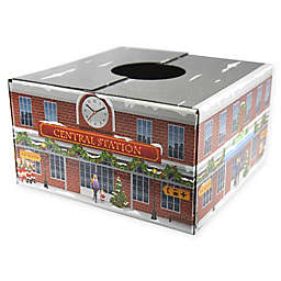 Christmas Tree Box Fiber Optic AC Train Station Tree Stand Cover in Red