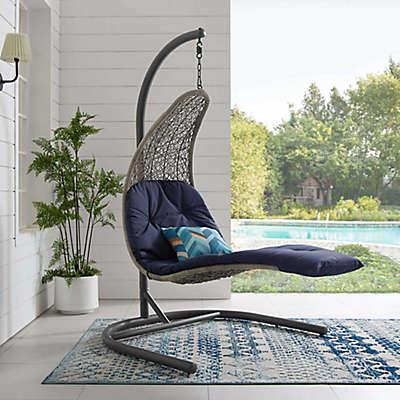 Modway Landscape Outdoor Patio Hanging Chaise Lounge Swing Chair