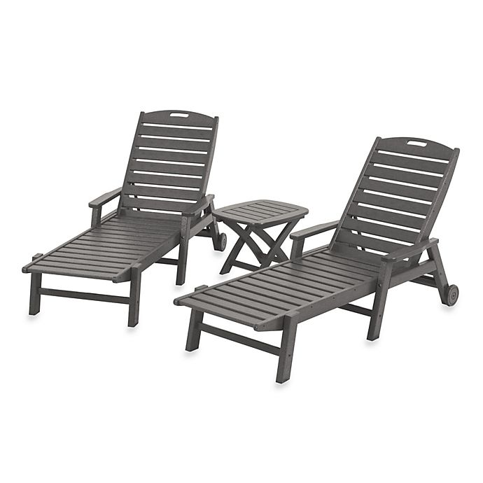 Alternate image 1 for POLYWOOD® Nautical 3-Piece Chaise Set in Slate Grey