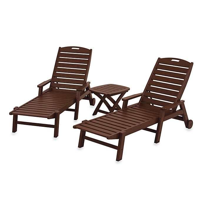 Alternate image 1 for POLYWOOD® Nautical 3-Piece Chaise Set in Mahogany