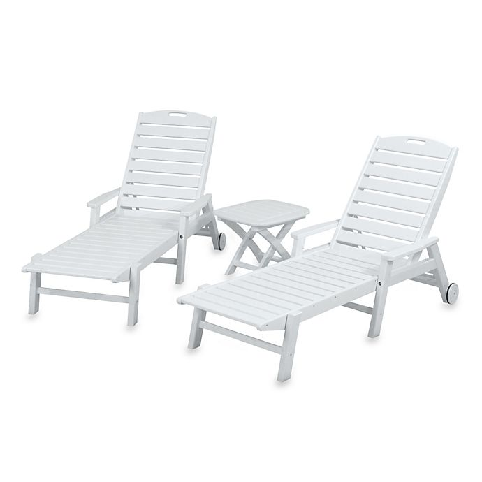 Alternate image 1 for POLYWOOD® Nautical 3-Piece Chaise Set in White