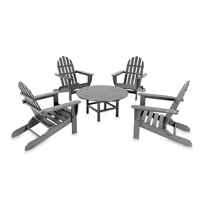 Alternate image 1 for POLYWOOD® Adirondack 5-Piece Outdoor Conversation Set in Grey