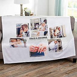 Wedding 6 Photo Collage Personalized 60x80 Fleece Blanket