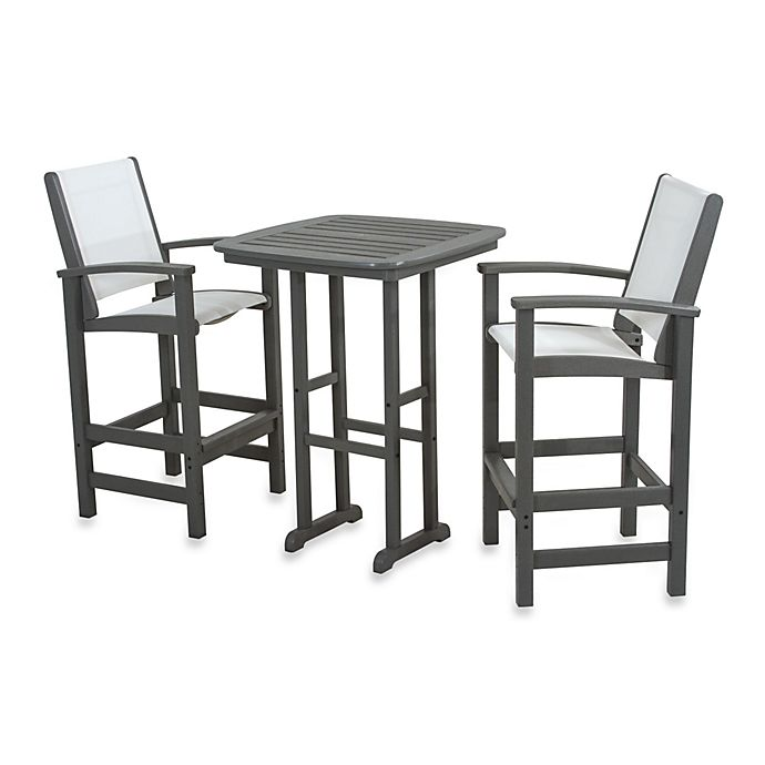 Alternate image 1 for POLYWOOD® Coastal 3-Piece Outdoor Bar Set in Slate Grey/White