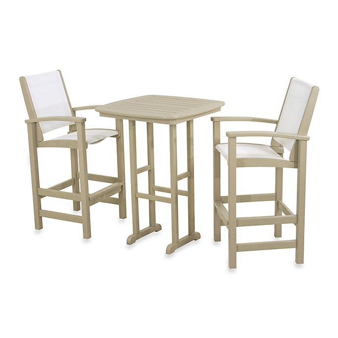 Alternate image 1 for POLYWOOD® Coastal 3-Piece Outdoor Bar Set in Sand/White