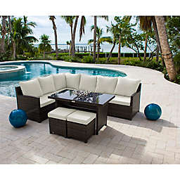 Hospitality Rattan Patio Athens 4-Piece Sectional Patio Dining Set