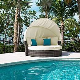 Hospitality Rattan Patio Athens Outdoor Canopy Daybed and 2 Ottomans with Cushions
