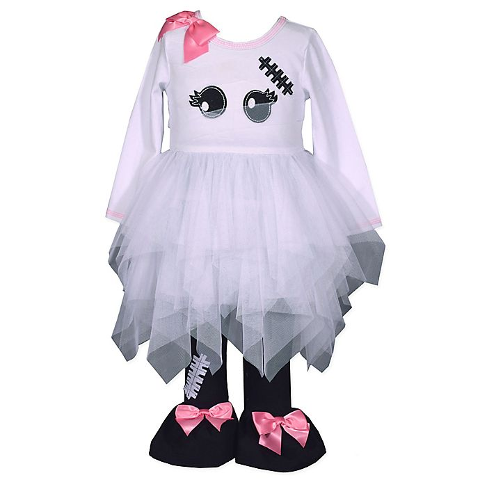 Alternate image 1 for Bonnie Baby 2-Piece Ghost Cascade Skirt Top and Leggings Set