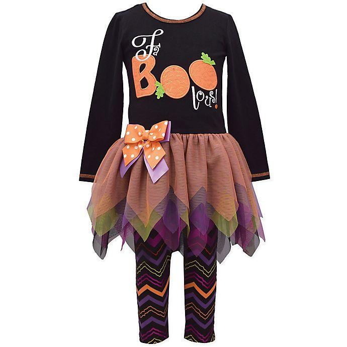 Alternate image 1 for Bonnie Baby 2-Piece Fa-Boo-Lous Halloween Tutu Shirt and Legging Set