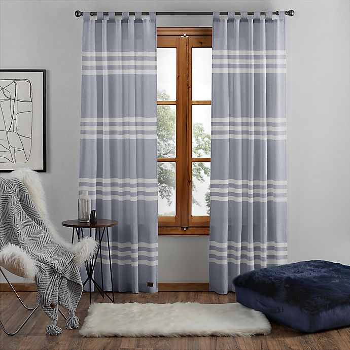 Alternate image 1 for UGG® Riley Stripe 108-Inch Tab Top Window Curtain Panel in Denim