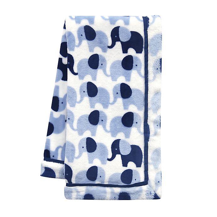 Alternate image 1 for Lambs & Ivy® Indigo Elephant Baby Blanket in Blue/White