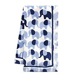 Lambs & Ivy® Indigo Elephant Baby Blanket in Blue/White