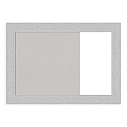 Amanti Art Shiplap White 31-Inch x 22-Inch Framed Grey Cork and White Dry Erase Combo Board