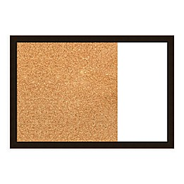 Amanti Art Espresso Brown 29-Inch x 20-Inch Framed Cork and White Dry Erase Combo Board