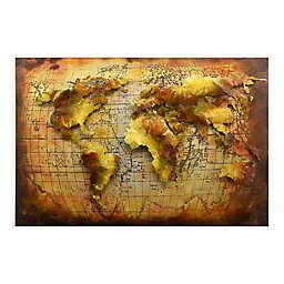 Globe 3D 32-Inch x 48-Inch Metal Wall Art