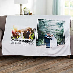 Wedding 2 Photo Collage Personalized 60x80 Fleece Blanket