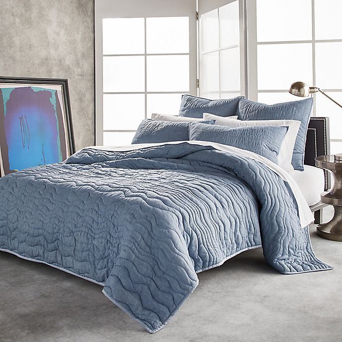 Alternate image 1 for DKNY Cotton Voile Twin Quilt in Blue Chambray
