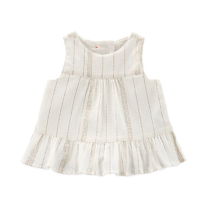 Alternate image 1 for OshKosh B'gosh® Ruffle Chambray Shirt in White