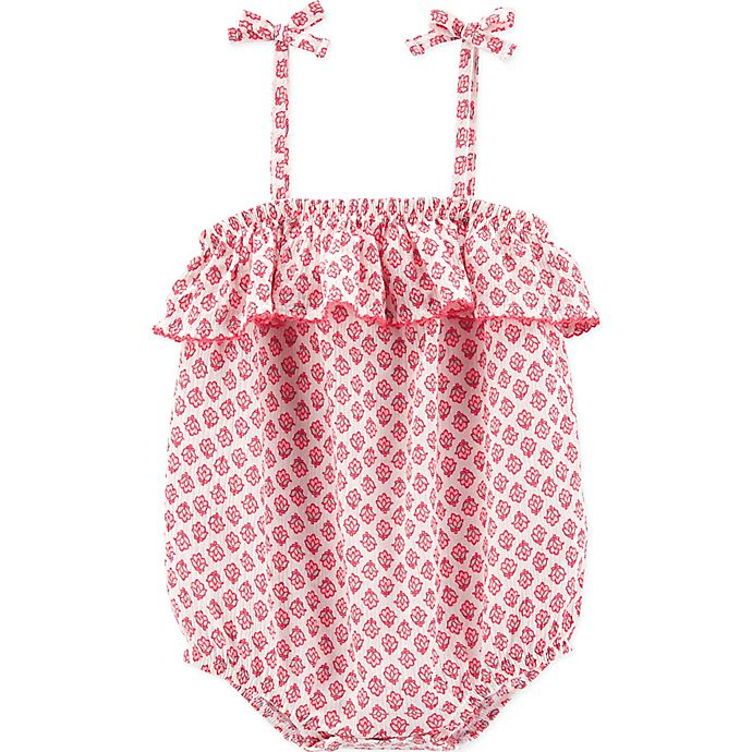 Alternate image 1 for OshKosh B'gosh® Ruffled Floral Romper in Pink