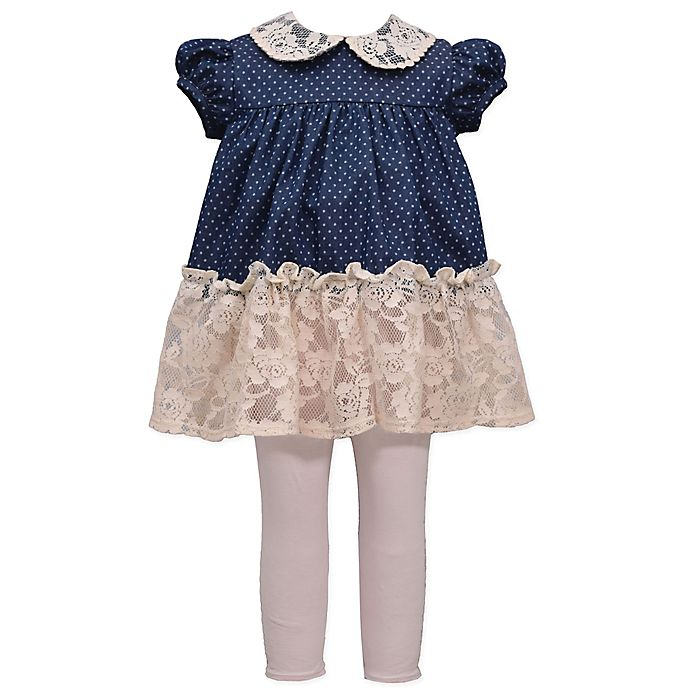 Alternate image 1 for Bonnie Baby 2-Piece Lace Collar Chambray Dress and Legging Set in Denim