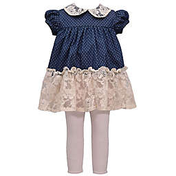 Bonnie Baby 2-Piece Lace Collar Chambray Dress and Legging Set in Denim