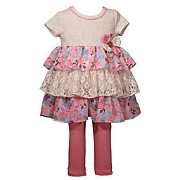 Bonnie Baby 2-Piece Floral Flounce Top and Legging Set in Oatmeal/Pink