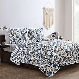 VCNY Home Antigua Reversible Quilt Set in Blue