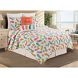 C & F Home Flip Flop Life Reversible Quilt Set in Pink/green