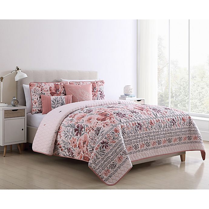 Alternate image 1 for VCNY Home Gracey Reversible King Quilt Set in Blush