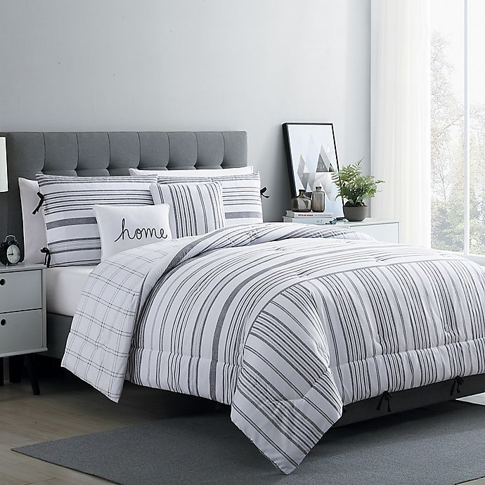 Alternate image 1 for VCNY Home Farmhouse Princeton Reversible Full/Queen Comforter Set in White/Grey