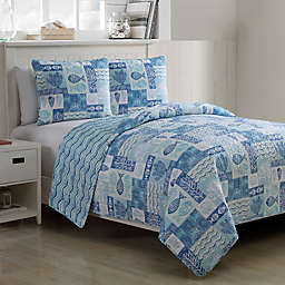 VCNY Home Patchwork Sea Life Reversible King Quilt Set in Blue