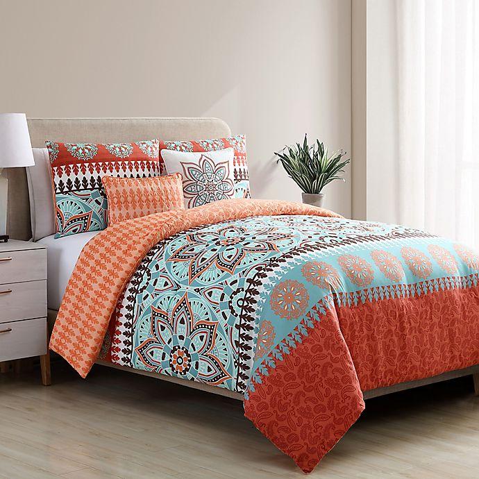 Alternate image 1 for VCNY Home Ezra Reversible King Comforter Set in Orange