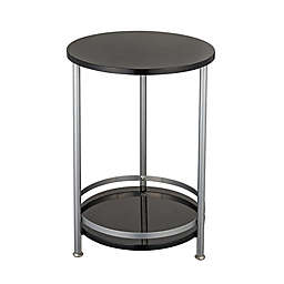 2-Tier Round Side Table in Black/Silver