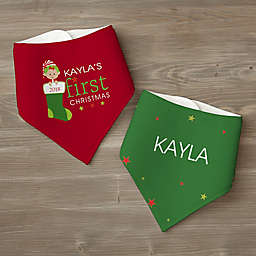 First Christmas Character Personalized Bandana Bib Set