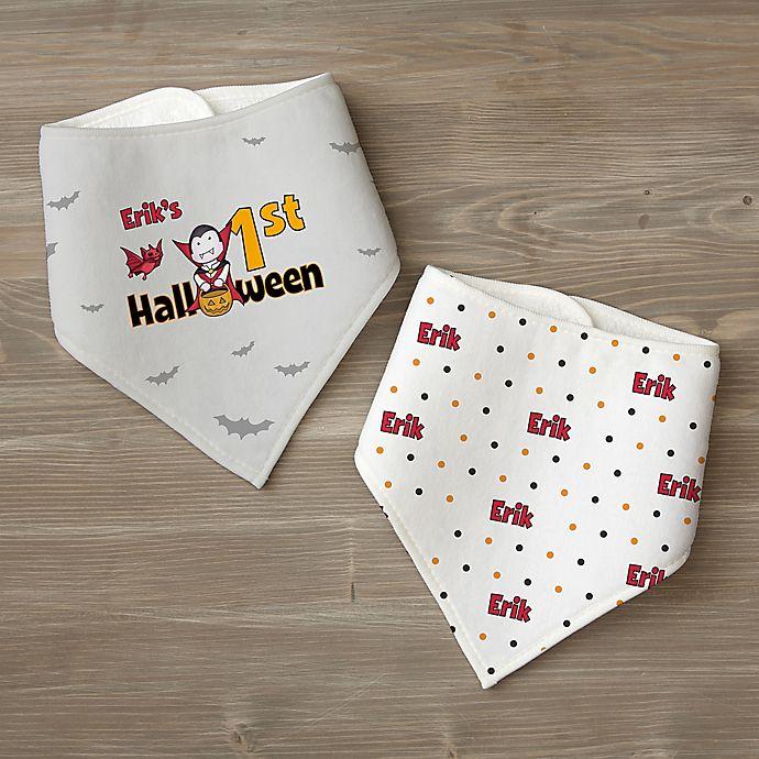 Alternate image 1 for My First Halloween Personalized Bandana Bib Set