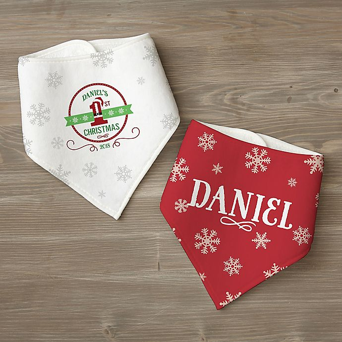 Alternate image 1 for Santa Loves Me Personalized Bandana Bib Set