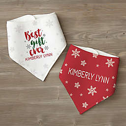 Best Gift Ever Personalized Christmas Bandana Bib Set