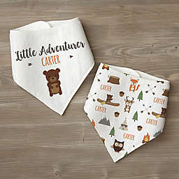 Woodland Adventure Bear Personalized Baby Bandana Bib Set