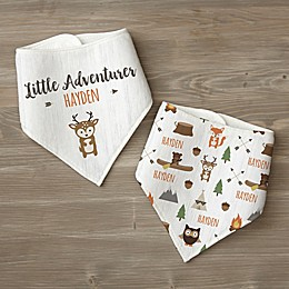 Woodland Adventure Deer Personalized Baby Bandana Bib Set