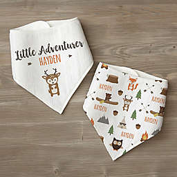 Woodland Adventure Deer Personalized Baby Bandana Bib Set