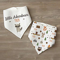 Woodland Adventure Raccoon Personalized Baby Bandana Bib Set