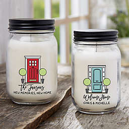 Front Door Welcome Personalized Farmhouse Candle Jar