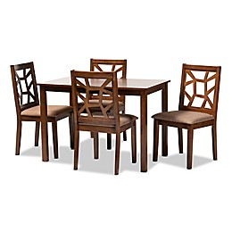 Baxton Studio Harvie 5-Piece Dining Set in Walnut/Light Brown