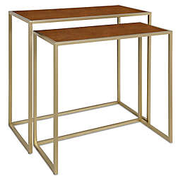 Kate and Laurel™ Wardwell Nesting Tables in Walnut/Brown